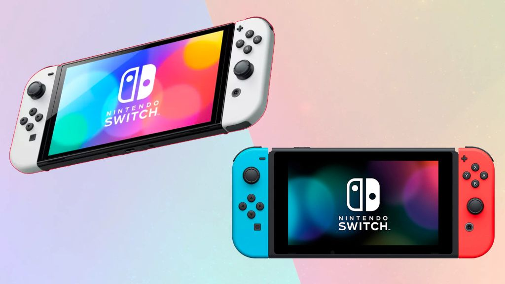 The Nintendo Switch OLED and original Nintendo Switch on a colored background