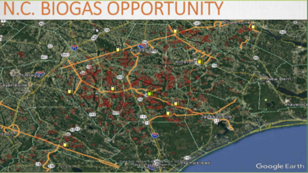 satellite map has potential locations for natural gas generation noted in red