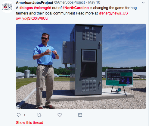 screenshot of a tweet from the American Jobs Project, touting a natural gas project