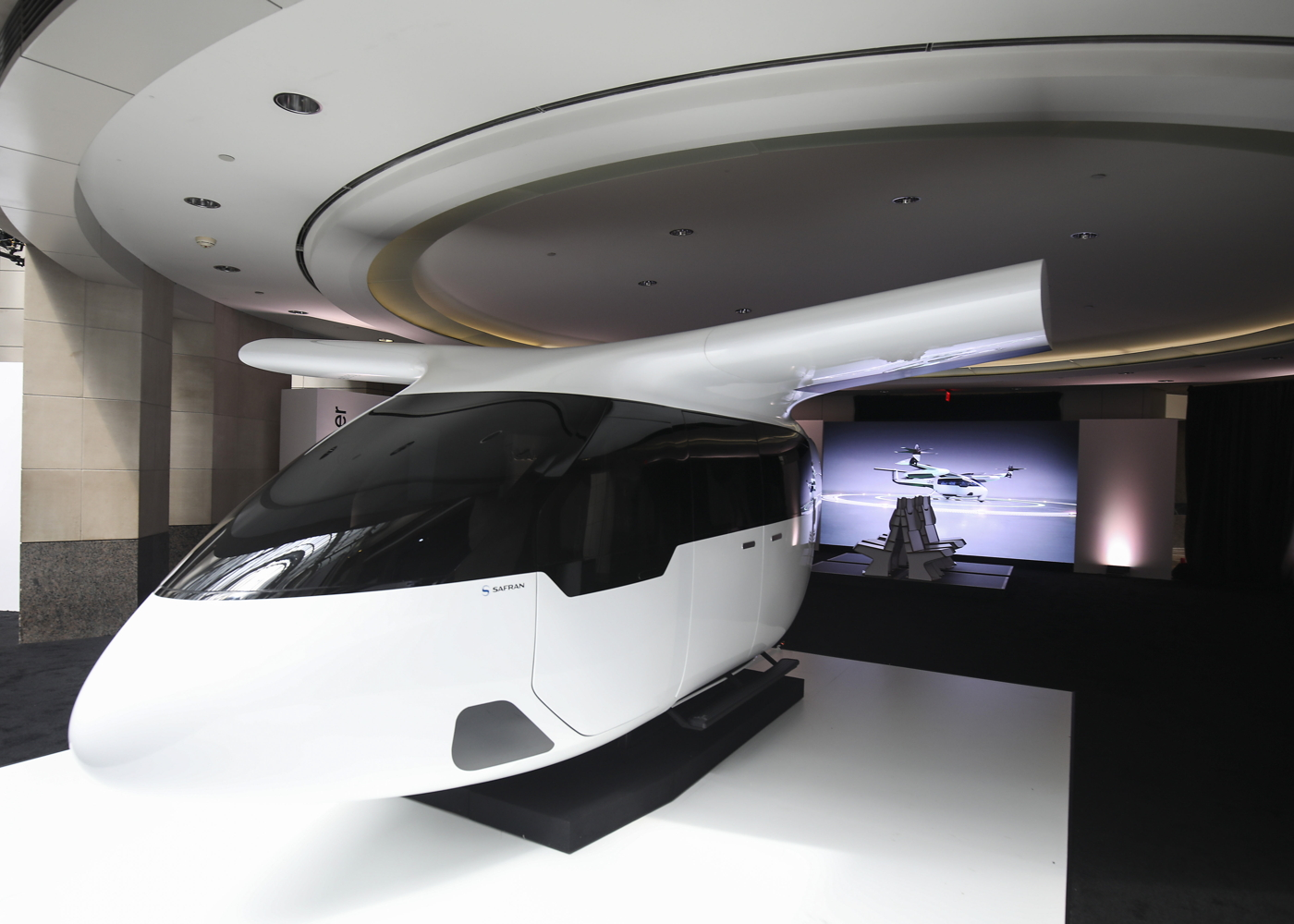 Air taxi cabin by Uber and Safran