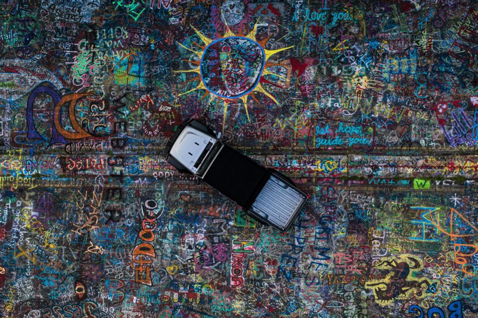 Graffiti Highway from above, with a Jeep Gladiator.
