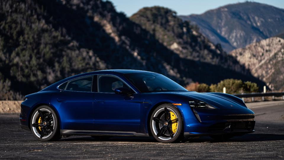 Porsche's Taycan electric sport sedan, which claimed best luxury and performance car nods in the World Car Awards program.
