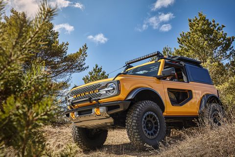 trail sights on the front fenders serve as tie downs, reminiscent of the first generation bronco aftermarket accessories shown not available for sale prototype not representative of production vehicle
