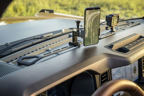 the instrument panel in the 2021 bronco two  and four door models is ready for installation of accessories such as a bring your own device rack shown on this prototype prototype interior shown not representative of production vehicle