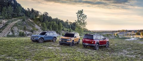 bronco sport is available in 10 different exterior colors, including area 51, cyber orange metallic tri coat and rapid red metallic tinted clearcoat pre production models pictured