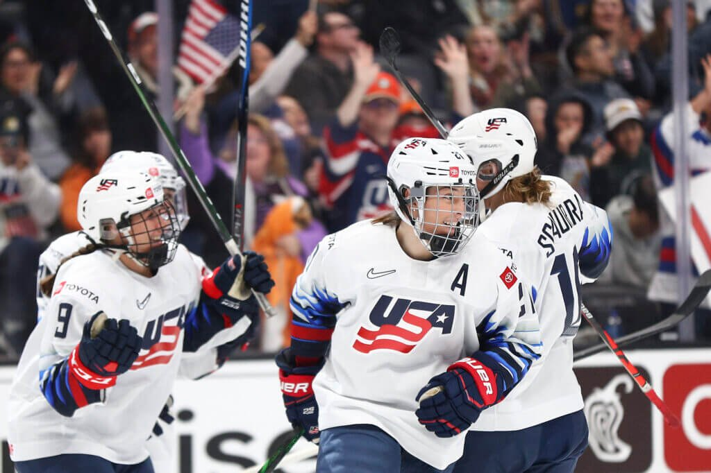ANAHEIM, CALIFORNIA - FEBRUARY 08: Hilary Knight #21 of U.S. Women's Hockey Team celebrates her goal in the first period against the Canadian Women's National Team at Honda Center on February 08, 2020 in Anaheim, California. (Photo by Meg Oliphant/Getty Images)