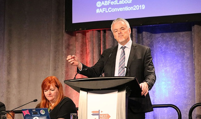 Jim Stanford conducting a presentation on how to build a new economic narrative, at the Alberta Federation of Labour Convention 2019 in Calgary, Canada.