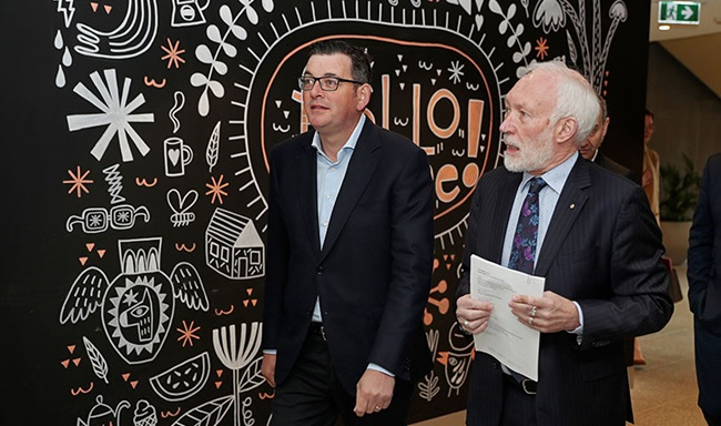Victorian Premier Daniel Andrews with Patrick McGorry at the opening of the new Orygen Youth Mental Health Centre in Parkville, Victoria, in July 2019.