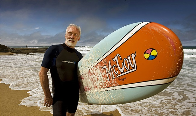 McGorry at Bells Beach in Torquay, Victoria, in 2010, while being filmed for a Qantas advertisement.