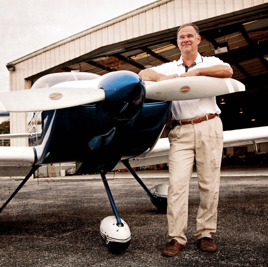 Alan Walker with the experimental aircraft that he built