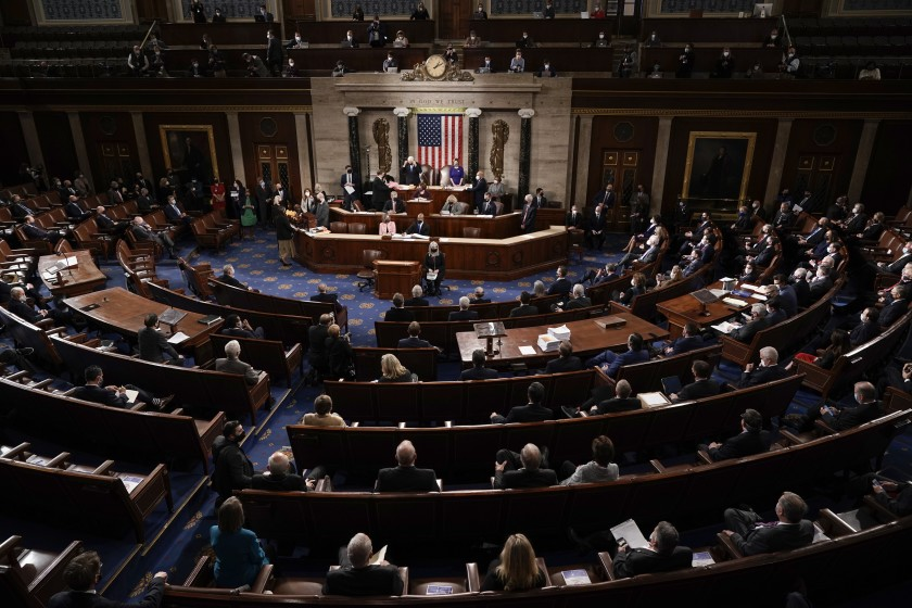 Lawmakers fill the House chamber of the U.S. Capitol.