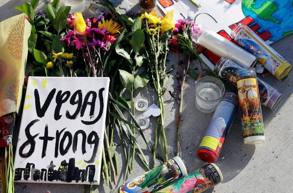 A makeshift memorial in Las Vegas honored the victims of a mass shooting that claimed more than 50 lives.