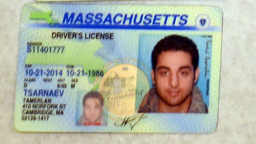 The driver's licenses of Boston Marathon bomber Tamerlan Tsarnaev. Federal officials chose not to disseminate information about Tsarnaev to local authorities prior to the bombing, despite having investigated him.