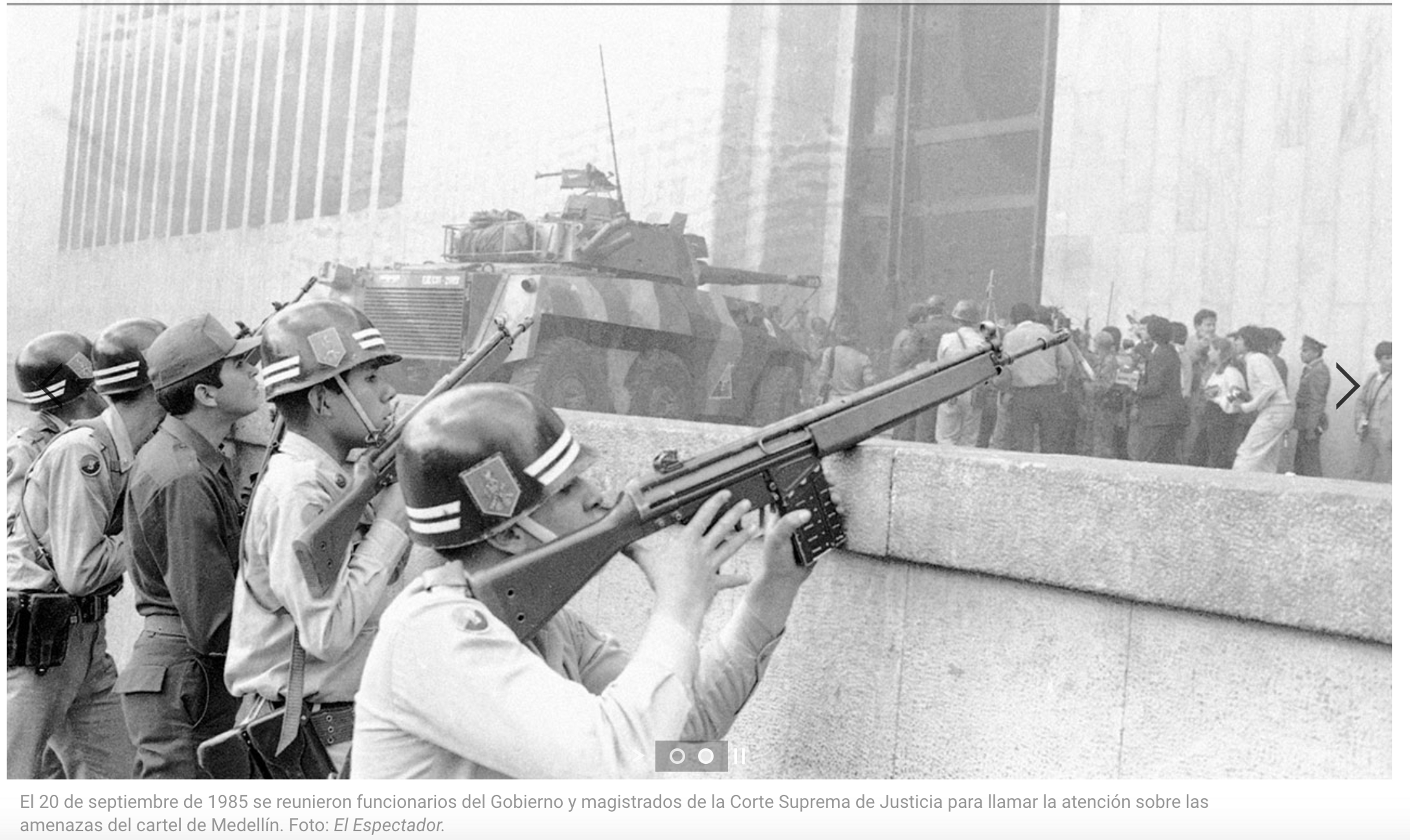 Colombia's Palace of Justice was overrun by guerrillas in 1985. The state responded with 10 tanks. Photo: El Espectador
