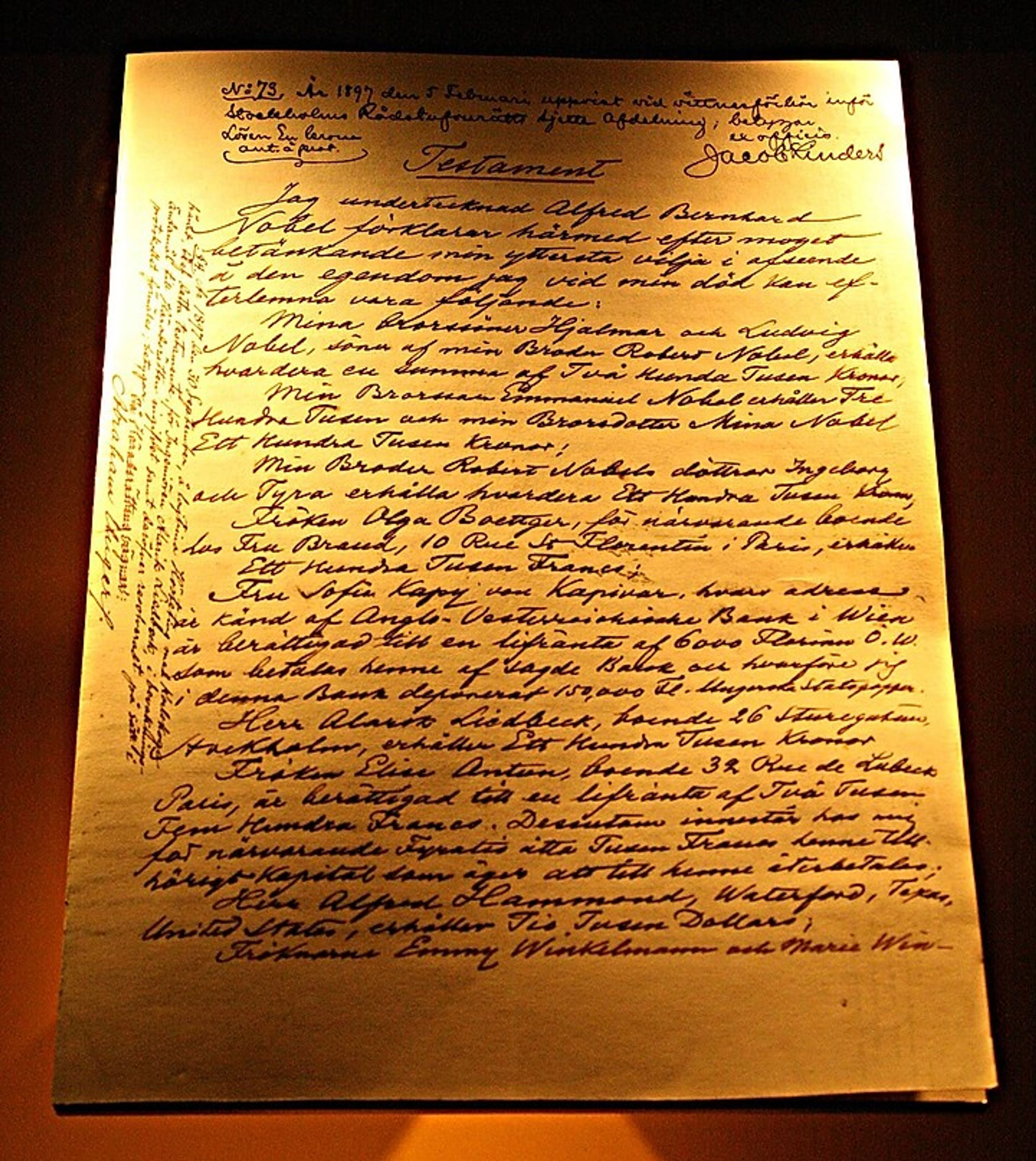 Alfred Nobel's will and testament