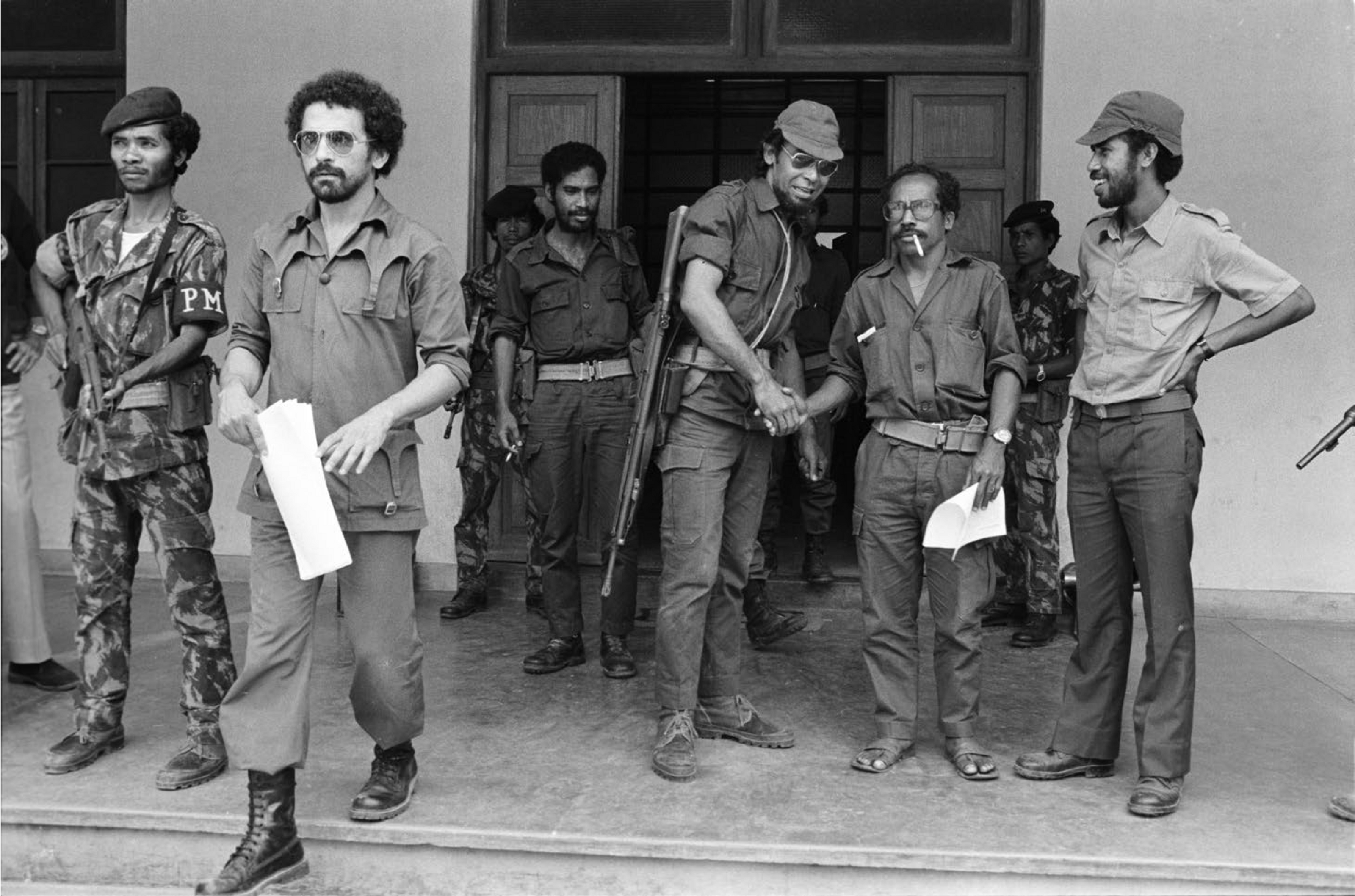 November 1975: Ramos Horta, second from left, after Indonesian cross-border attacks had begun, but just before the full invasion of Dili